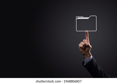 Businessman hold folder icon.Document Management System or DMS setup by IT consultant with modern computer are searching managing information and corporate files.Business processing