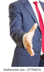 Businessman hold hand welcome gesture, offering a handshake