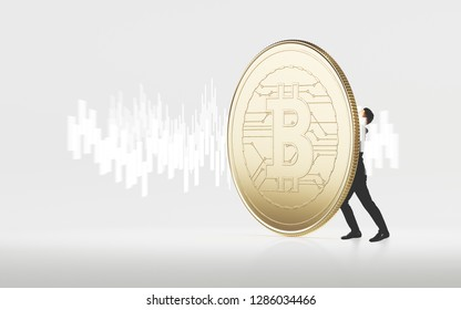 Businessman hold a huge bitcoin concept