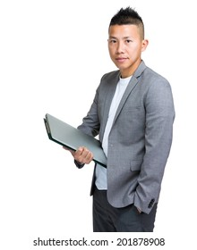 Businessman hold with laptop and clipboard