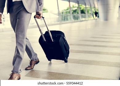 Businessman Hold Luggage Business Trip