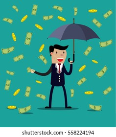Businessman hold umbrella and standing under money rain. illustration in flat style Raster version