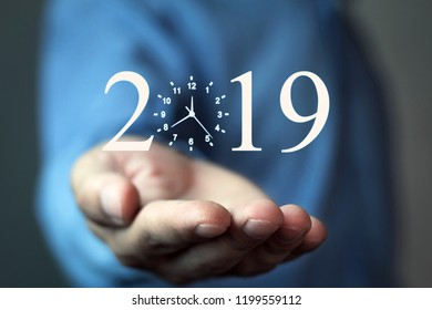 Businessman holding 2019. Welcome New Year
