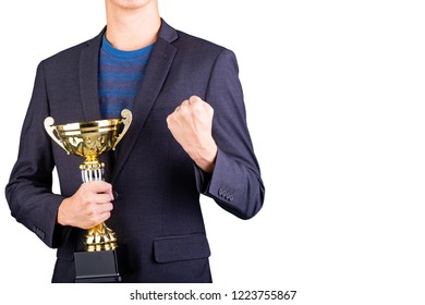 Businessman holding award trophy with Italy style for your design sport content.