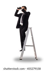 Businessman holding binoculars for search business isolated with white background.