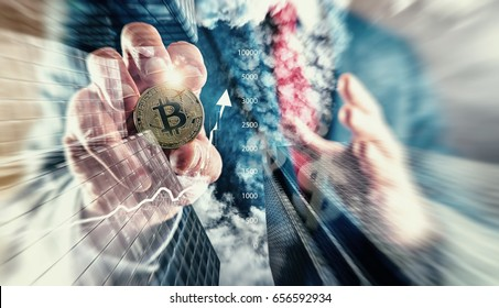 Businessman holding Bitcoin. Bitcoin at All-Time High investment (new virtual money)