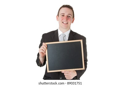 Businessman holding a blackboard Isolated on white background