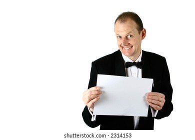 A businessman holding a blank card, isolated on white background.