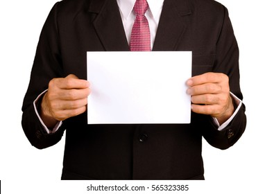 businessman holding blank white paper on white with path