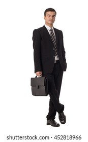 Businessman holding briefcase isolated with white background.