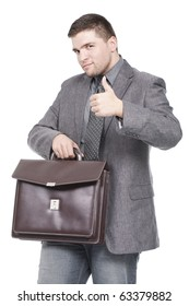 businessman holding briefcase with thumb up