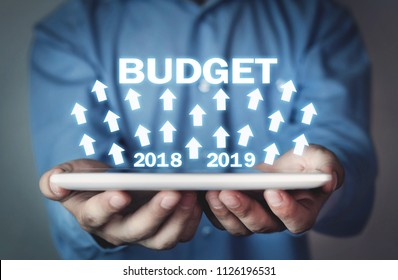Businessman holding Budget 2018- 2019. Business concept