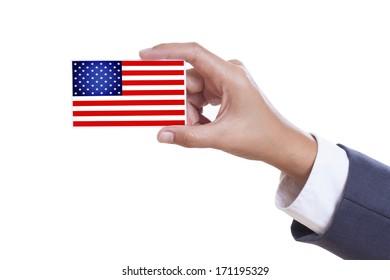 Businessman holding a business card with a USA Flag