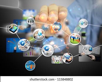 businessman holding business diagram