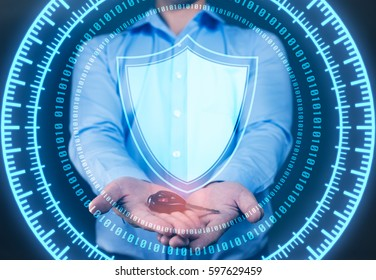 businessman Holding car key  and shield to cyber security protection concept