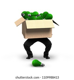 Businessman holding cardboard box with green grass lightbulbs inside, isolated on white, concept of ECO and green energy.