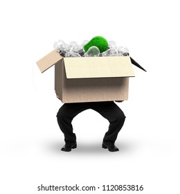 Businessman holding cardboard box with unique green grass bulb among many traditional bulbs inside, isolated on white, concept of ECO and green energy.