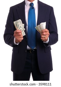 Businessman holding cash in both clenched fists, isolated on white
