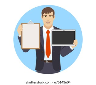 Businessman holding the clipboard and digital tablet PC. Portrait of businessman character in a flat style. Raster illustration.