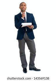 Businessman Holding Clipboard Over White Background