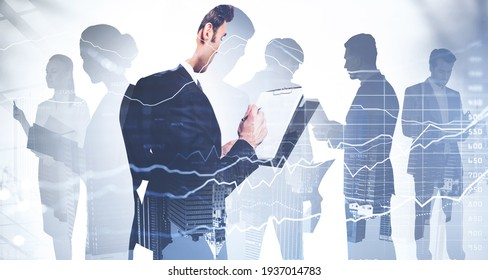Businessman holding clipboard and taking notes about stock market rate behavior. Financial services consulting. double exposure. Colleagues are on background of financial city center of New York city