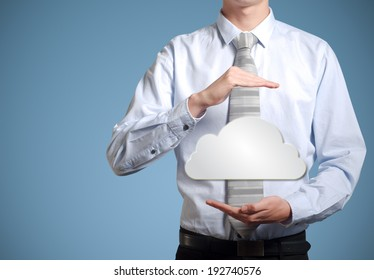 Businessman holding cloud computer network technology in hands