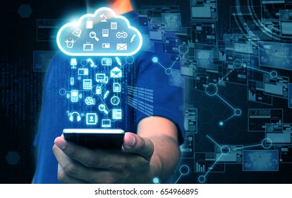 Businessman holding cloud computing