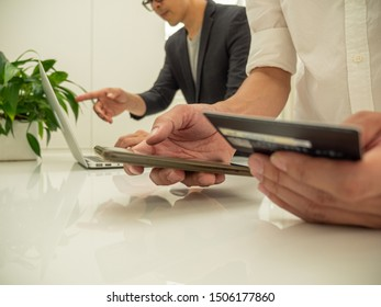 Businessman holding credit card for payment their business.