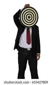 Businessman holding a dart board. With a white back ground.