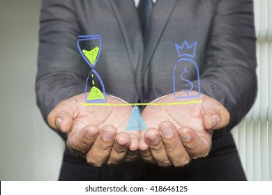 Businessman holding diagram with Scales in equal balance holding a clock left on the and money on the right.