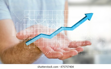 Businessman holding digital charts bars and blue arrow in his hand 3D rendering