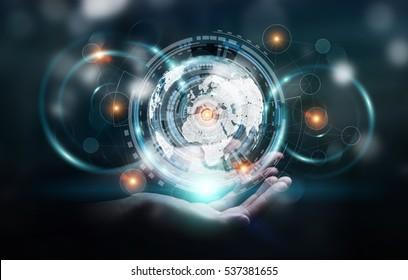 Businessman holding digital data on hologram screen in his hand 3D rendering