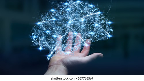 Businessman holding digital human brain with cell and neurons activity 3D rendering