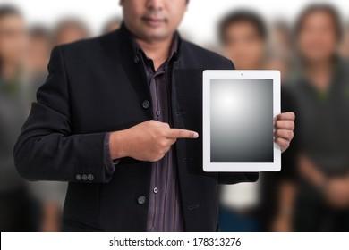 Businessman holding a digital tablet