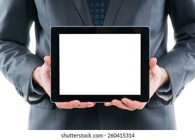 Businessman holding digital tablet pc with blank screen