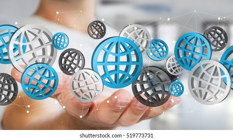 Businessman holding digital web icons in his hand ??3D rendering