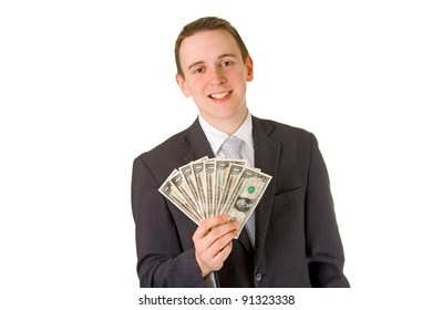 Businessman holding dollar banknotes isolated on white background