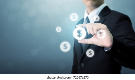 Businessman holding dollar currency icon, Successful money financial technology  investment concept