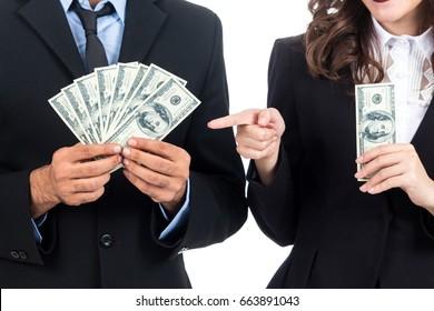 Businessman holding Dollars isolated on white background