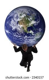 Businessman holding the earth globe on his shoulders - Greek mythology - Atlas