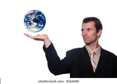 businessman holding earth (protect)