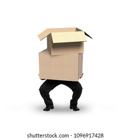 Businessman holding empty cardboard boxes, isolated on white background.