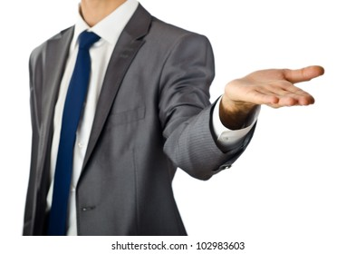 Businessman holding empty hands