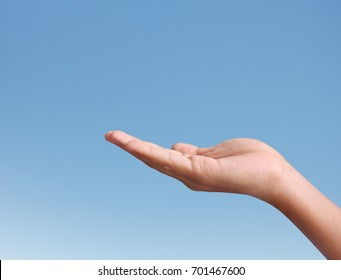 Businessman holding empty a hands