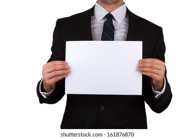 businessman holding empty white placard showing copy space isolated on white background