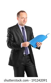 Businessman holding a folder and looking at camera isolated on white background