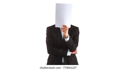 Businessman holding a folders near face isolated on white background