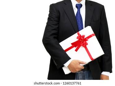 businessman holding gift box white background