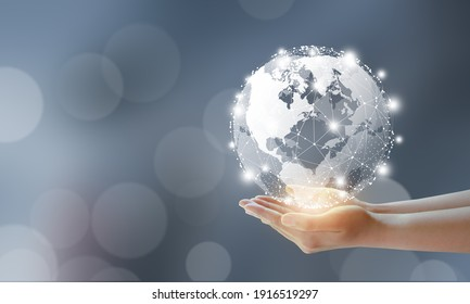 Businessman holding global technology and media digital network connection. Global, Technology, Business, Media and Data Connection Concept.