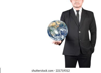 Businessman holding globe in hand out for presentation isolated on white background with clipping path Elements of this image furnished by NASA